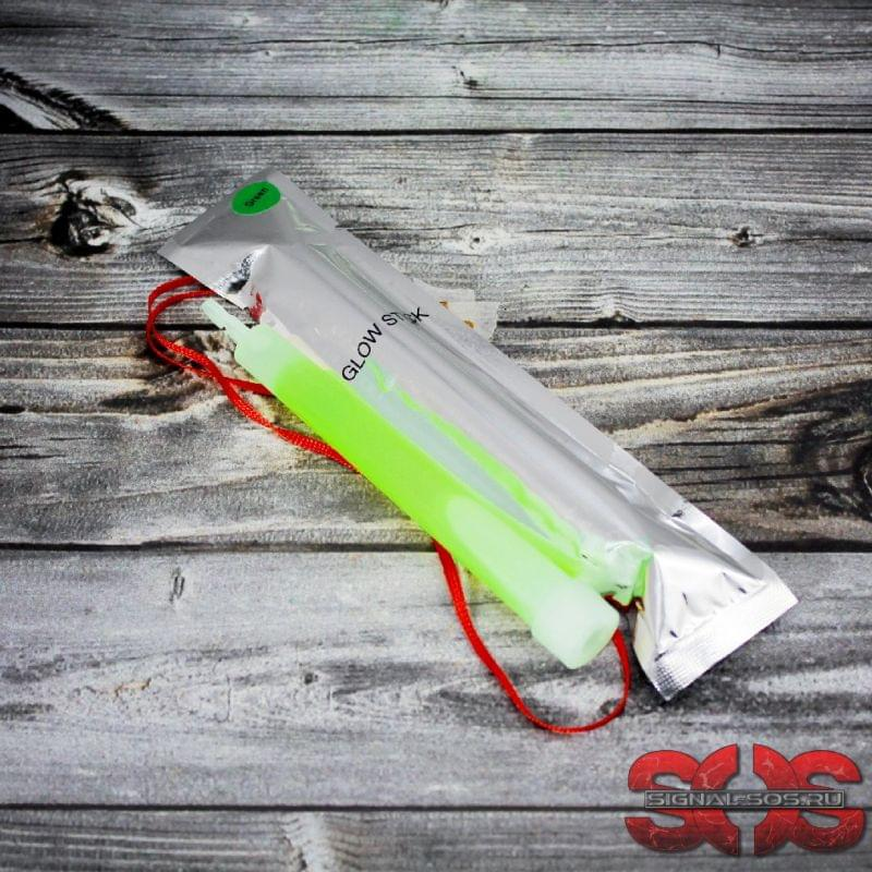 Светящиеся палочка «GLOW STICK» 15 см. зелёный (ХИС) в фольге