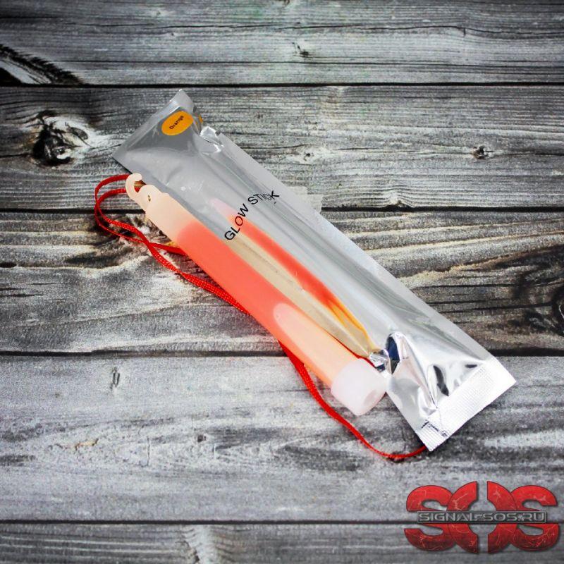 Светящиеся палочка ХИС 15 см. «GLOW STICK» оранжевый в фольге
