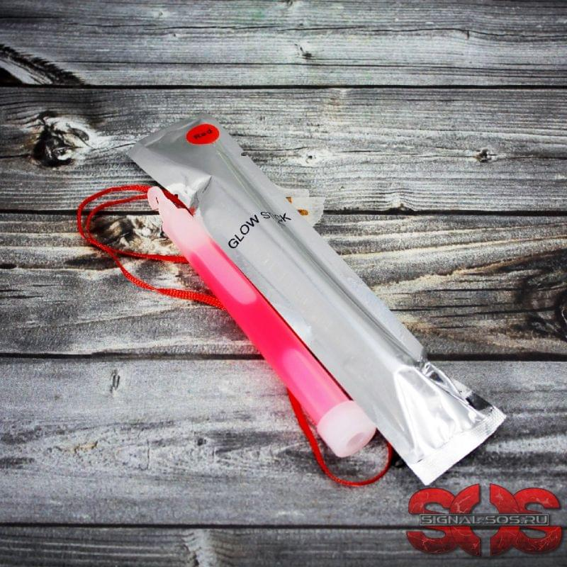 Светящиеся палочка ХИС 15 см. «GLOW STICK» красный в фольге