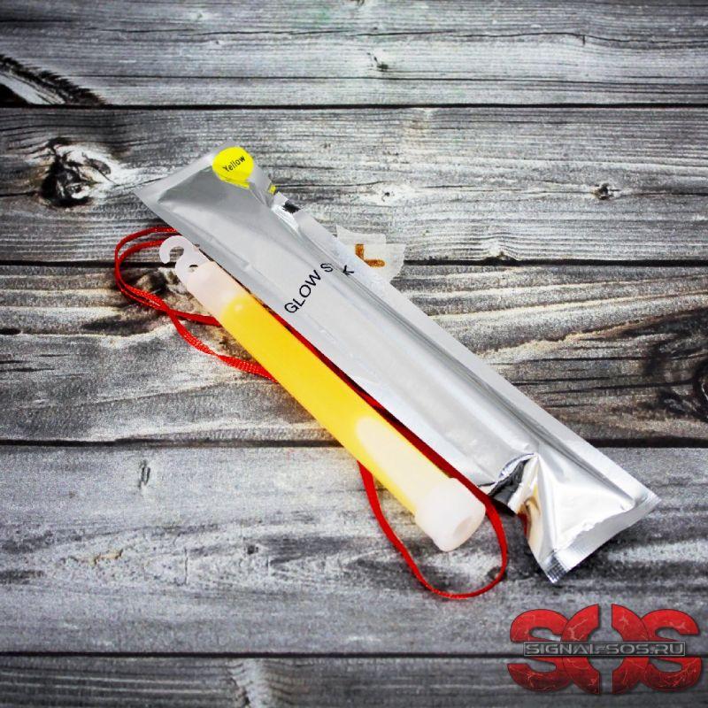 Светящиеся палочка «GLOW STICK» 15 см. желтый (ХИС) в фольге