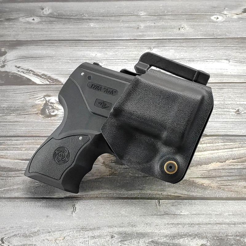 Формованная поясная кобура для аэрозольного пистолета ПРЕМЬЕР-4 из ABS-пластика