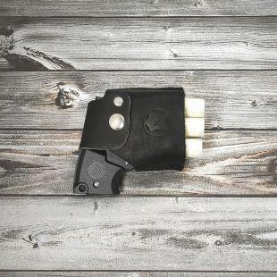 Кобура кожаная поясная чёрная для устройства «ПУ-3» с лямкой
