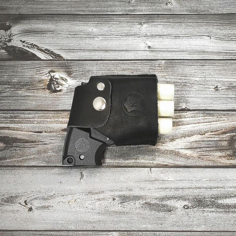 Кобура кожаная поясная чёрная для пуского устройства ПУ-3