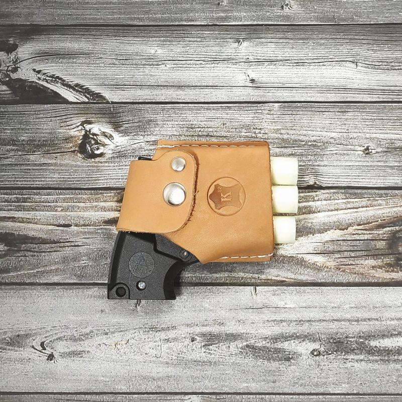 Кобура кожаная поясная коричневая для пуского устройства ПУ-3